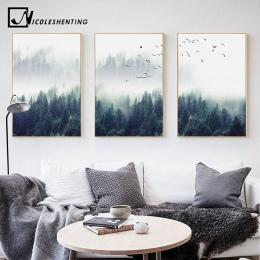 Nordic dekoracji las krajobraz Wall Art plakat na płótnie i druk na płótnie malowidło dekoracyjne do salonu wystrój domu