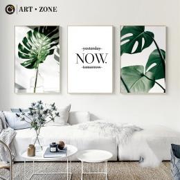 Strefa sztuki Nordic płótnie malarstwo nowoczesne wydruki roślin liści ART plakaty drukuje zielony Art obrazy ścienne pokój dzie