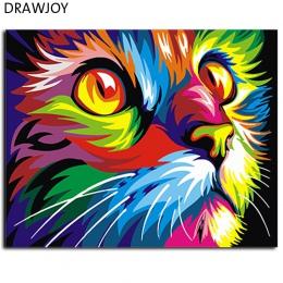 Streszczenie oprawione farby olejne obraz DIY według numerów kolorowanie według numerów kolorowe zwierzęta dekoracji domu 40*50