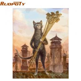 RUOPOTY ramka zwierzęta koty obraz DIY przez numery zestawów nowoczesna ściana art obraz na płótnie farby wyjątkowy prezent dla