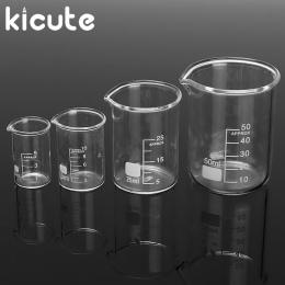 Kicute 4 sztuk 5 ml 10 ml 25 ml 50 ml szkło przezroczyste zlewki zestaw ukończył ze szkła borokrzemianowego zlewka szklana szkoł