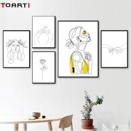 Abstrakcyjne kobiet rysowanie linii Nordic plakaty i reprodukcje nowoczesne na płótnie malarstwo ścienne sztuki żółty dziewczyna