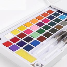 12/18/24/36 kolorów przenośne podróży stałe pigmenty akwarela farby zestaw z pędzel do akwareli pióro do akcesoria do malowania