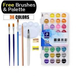 Pamięci 36 kolorów akwarela zestawy profesjonalny kolory wody do malowania papieru dostaw sztuki z bezpłatnym pędzle do paleta