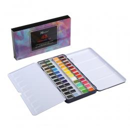 MEEDEN sztuki akwarela cyny paleta zestaw farb do malowania z 48 kolory pół Pan farby przenośny zestaw akwareli dla pola szkic