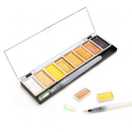 Premium 5/8 kolory stałe kolor wody metaliczny złoty pigmentu farby do malowania z Waterbrush dla malowanie artystyczne akwarele