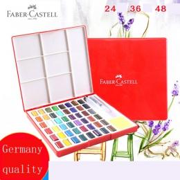 Faber-castell 24/36/48 kolor stałe akwarela pudełko z pędzlem jasny kolor przenośny akwarela Pigment Art dostaw