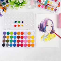 12/24/36 kolory profesjonalne stałe farby akwarelowe farby Box z pędzlem jasny kolor przenośny zestaw pigmentów do akwareli