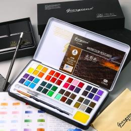 48 kolory stałe akwarele zestaw metalowe pudełko z żelaza akwarela malarstwo Pigment kieszonkowy zestaw do rysowania z 7 prezent