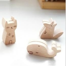 Cute zwierząt drewniany folder informacyjny, klip fotograficzny, cartoon uwaga, posiadacz karty, wyświetlacz produktu podstawa n