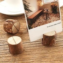 Drewniany kikut kształt Wedding Party recepcja miejsce na karty stojak numer nazwa tabela Menu zdjęcie zdjęcie etui na karty z k