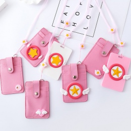 1 sztuk Kawaii Cardcaptor Sakura gwiazda skrzydła serce PU karty ID posiadacze kart kredytowych biurowe PU etui na karty z liny