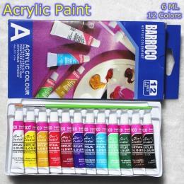 6 ML 12 kolorów profesjonalne farby akrylowe zestaw ręcznie malowane obraz ścienny farba tekstylna Brightly Colored dostaw sztuk