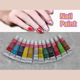 6 ML 12 kolorów zestaw do paznokci akrylowych farb 3D paznokcie Art wzory porady narzędzia do malowania Ongle dekoracje lakier d