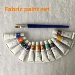 Profesjonalne kolory tkanin farba nie Toxic12 kolorów 6 ml kolor zestaw tekstylne kolorów pigmentów za darmo dla szczotka