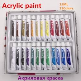 Profesjonalne 24 kolory 12 ML zestaw farb akrylowych do malowania paznokci, odporny na działanie wody farba do tkanin narzędzia