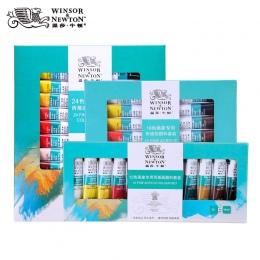 Winsor & Newton profesjonalne farby akrylowe zestaw 12/18/24 kolory 10 ML ręcznie malowane ściany rysunek malarstwo zestaw pigme