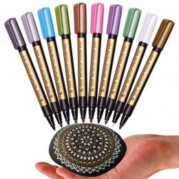STA 10 sztuk/partia metalowe markery długopis do Rock malarstwo średni punkt do ceramiki malowanie na szkle kubek z tworzywa szt
