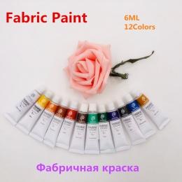 Profesjonalne 12 kolory 6 ML tekstylne farba do tkanin zestaw nietoksyczny tuba farba akrylowa