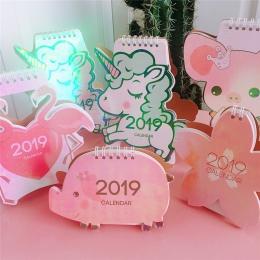 2019 słodkie jednorożec Flamingo świnia Laser Mini tabeli kalendarz biurkowy Agenda organizator harmonogram dzienny plan 2018.10