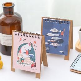 2019 rok nowy kot DIY Cartoon Mini pulpit kalendarz na papier dzienny harmonogram planista tabela roczny Agenda organizer