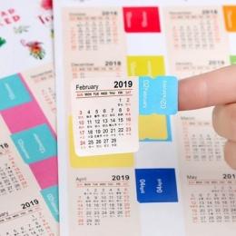 2 sztuk nowy 2020/2019 rok Mini kalendarz biurowe indeks dekoracyjne naklejki etykieta kalendarz naklejka DIY pracy kalendarz