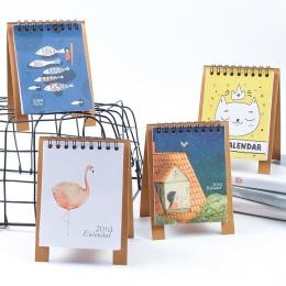 Śliczne 2019 kalendarz biurko DIY zwierząt Mini pulpit papieru kalendarze podwójny dzienny planista szkolne biuro artykuły biuro