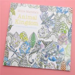 24 strony królestwa zwierząt angielski Edition kolorowanka dla dzieci dla dorosłych stres zabić czas malowanie szkicownik