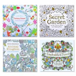 4 sztuk 24 strony królestwa zwierząt angielski Edition kolorowanka dla dzieci dla dorosłych stres dla zabij czas malarstwo rysun