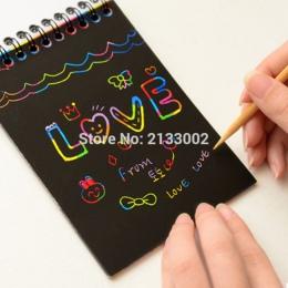 Hot Magic szkicownik DIY Scratch Notebook czarny karton jako prezent dla dzieci artykuły papiernicze artykuły szkolne
