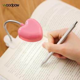 Woodpow Mini miłość serce klip doprowadziły książki światło do czytania książki biurko lampy klawiatura światła oczy-chroń oszcz