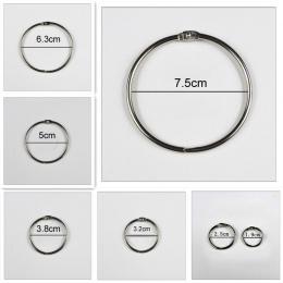 4 sztuk/partia metalowy pierścień spoiwa 15-75mm DIY albumy luźna książka obręcze otwarcia wiążące materiały biurowe