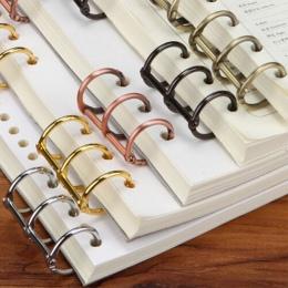 2 sztuk Retro metalowe luźne liść książka spoiwa zawiasach pierścień wiążące pierścienie kalendarz koło 3 pierścienie dla Notebo
