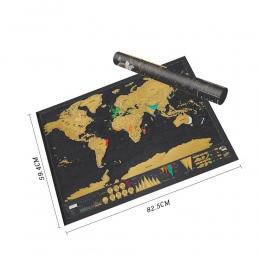 Scratch mapa Scratch Off mapa świata podróży plakat z folii miedzianej spersonalizowany dziennik zaloguj duży rozmiar z cylindry