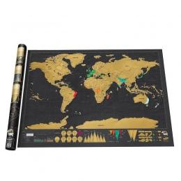 1 sztuka Deluxe czarny Scratch Off mapa świata 82.5X59.4 cm czarny mapa Scratch z cylindrycznym opakowaniem dekoracja pokoju nak
