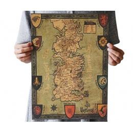 Gra o tron Westeros mapa papier pakowy vintage klasyczny film plakat Home garaż dekoracje ścienne DIY Retro drukuje po to