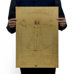 Leonardo Da Vinci rękopisów człowiek witruwiański papier pakowy vintage film plakat do dekoracji domu naklejki ścienne sztuki DI