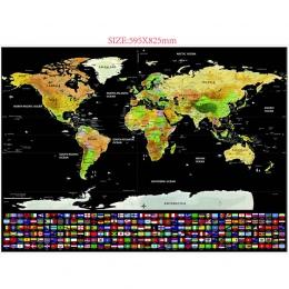 1 sztuk podróży Scratch mapa złota folia mapa podróży świata podróży Scratch Off folia warstwa powłoki mapa świata szkolne mater