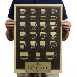 Włochy do kawy Espresso pasujące wykres papier pakowy vintage plakat mapa wystrój domu naklejki ścienne sztuki DIY Retro wystrój