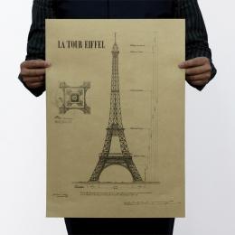 Paryż wieża eiffla struktury papier pakowy vintage klasyczny film plakat mapa wystrój domu ścianie garażu sztuka dekoracyjna Ret