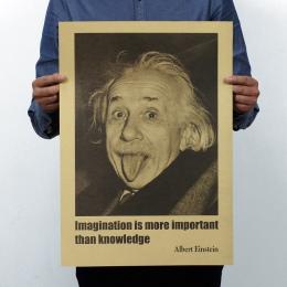 Albert Einstein wyobraźni w stylu Vintage klasyczny plakat mapa Home dekoracji ścianie garażu sztuka dekoracyjna Retro drukuje p