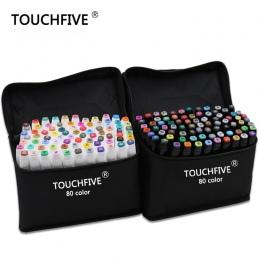 TouchFive Marker 30/40/60/80/168 kolory cienki pędzelek pióro alkoholu tłustej tusz na bazie Marker do malowania dla manga Dual