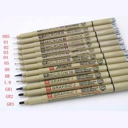 Pigma Micron sakura projekt graficzny pióro finliner 005 01 02 03 04 05 08 cienki pędzelek drobny punkt mapowania Art markery