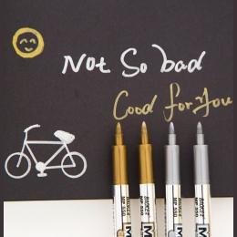1 sztuk złota i srebra 1.5mm materiały studenckie Marker rękodzieło długopis DIY metalowe wodoodporne markery permanentne Sharpi