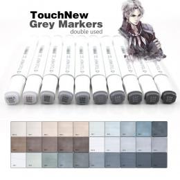 Touchnew Marker pióro 6/12/30 kolory szary kolory Art markery podwójne końcówki szkic markery na bazie alkoholu atrament dźwięki