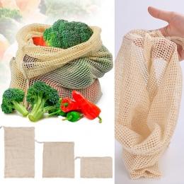 Warzyw popularne bawełniane owoce i warzywa z sznurkiem wielokrotnego użytku domu 1 PC do przechowywania w kuchni worki siatkowe
