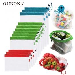 12 sztuk 3 rozmiary wielokrotnego użytku siatki produkcji zmywalny worek na przyjazne dla środowiska torby na zakupy spożywcze p
