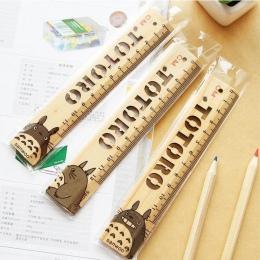 1 sztuk/partia nowość Cartoon mój sąsiad Totoro Hollow styl drewniany władca japonii do pomiaru drewna linijka prosta biuro szko