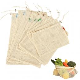 9 sztuk bawełna Mesh warzywa torby do przechowywania do kuchni ekologiczne owoce organizacji torba ze sznurkiem wielokrotnego uż