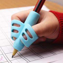 Z dwoma palcami uchwyt na długopis silikonowe dla dzieci nauka narzędzie do pisania urządzenie do korekty zestaw kredek papierni